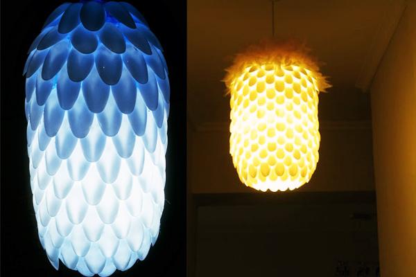 Đèn làm từ muỗng nhựa
