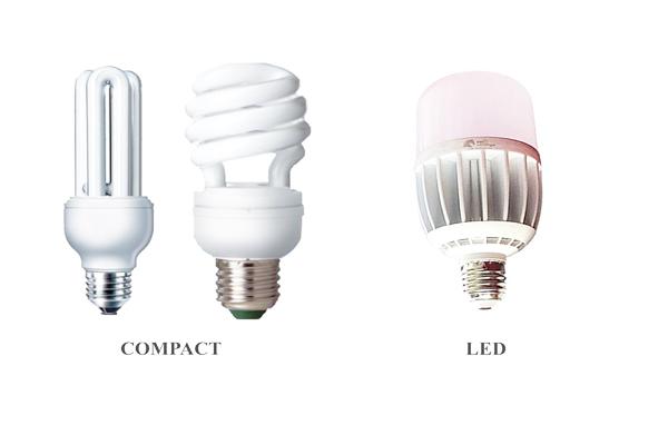 Đèn led và compact